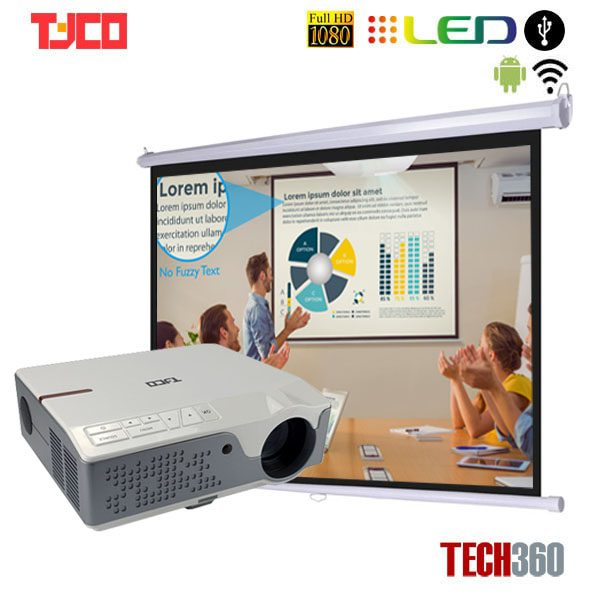 combo máy chiếu TYCO T8HD+ WIFI và màn 84 inch